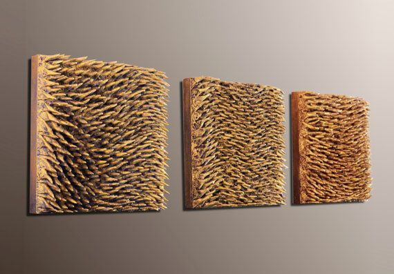 Set of 3 Wall Sculptures  Textured Wall Panels  3D by JeemadoDecor