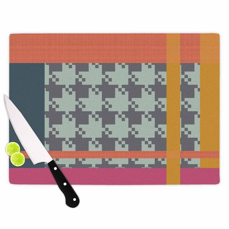 Kess InHouse Pellerina Design 'Houndstooth Color Block' color Contemporary Cutting Board