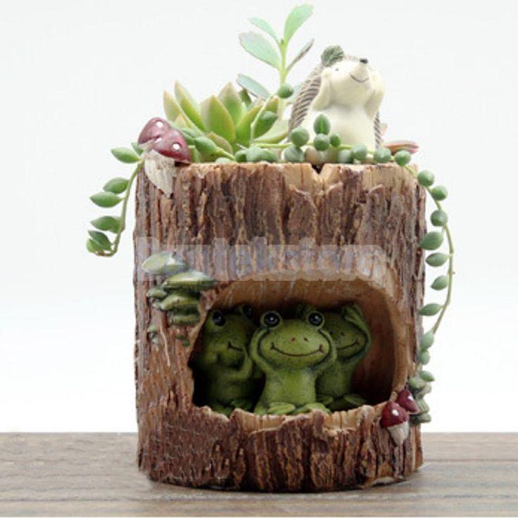 Frog Kitchen Herb Cactus Resin Planter Window Sill Box Garden Plant Pot Case