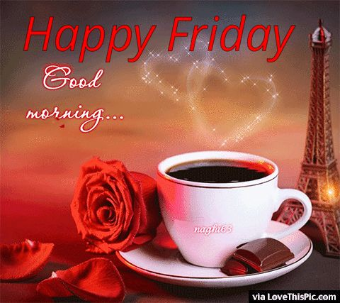 Good Morning Happy Friday Coffee And Roses Gif