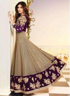 Shilpa Shetty Purple Anarkali Salwar Kameez