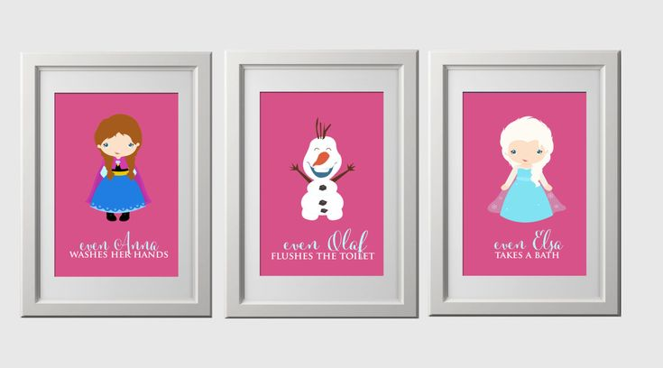 frozen bathroom wall prints, anna, elsa and olaf with fun bathroom sayings, set of 3 images,  PDF file by AmysDesignShoppe on Etsy https://www.etsy.com/listing/213152581/frozen-bathroom-wall-prints-anna-elsa