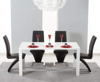 Hereford White High Gloss Dining Set - with 4 Black Hereford Chairs