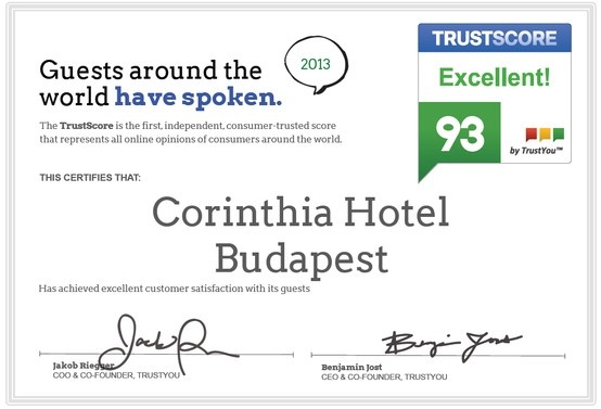 Corinthia Hotel Budapest receives award at Dotcomhotel Hospitality Conference  Corinthia Hotel Budapest was formally recognized as one of the best 5-star hotels in Hungary for its exceptional facilities and the high level of its services.  'We are extremely proud of this title. Guest reviews are essential for our hotel's reputation, as they are testament to our hotel's commitment to customer service and excellence,' said Mr Thomas M Fischer, General Manager of the hotel.
