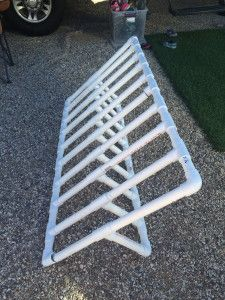 Easy, lightweight PVC bike rack that is great for home, the back of a truck or to use while camping!