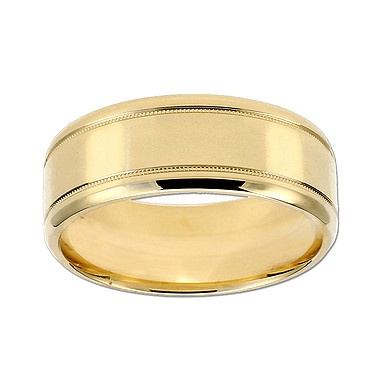 Comfort Fit Wedding Band Ring for Him, in 18kt Polished Yellow  Gold