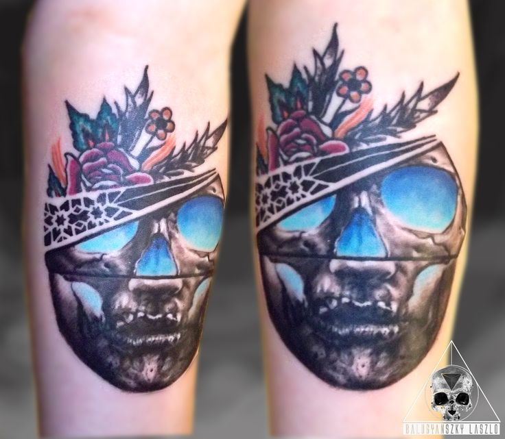 Traditional, tattoo, tribal, skull, black and grey, realistic, rose, colour