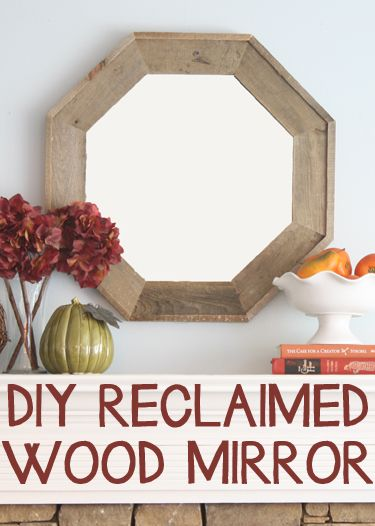 DIY reclaimed octagonal mirror! Knock off of a pricey designer version but cost nothing.