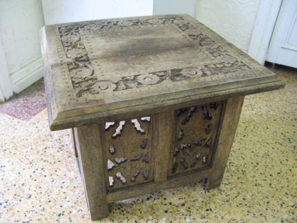$50 VINTAGE Timber TABLE Square CARVED Oriental 38x38x30cm Text 0411691171 or email info@bitspencer.com