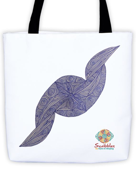 Deft Dark Blue Scribble Tote by: Eyes of Beijing