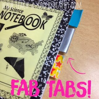 Duct Tape DIY- Bright Idea! Sturdy and fun tabs that won't come off easily. These are perfect for my students journals.