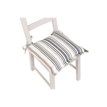 Edworth Mid Grey Striped Seat Pad | Departments | DIY at B&Q