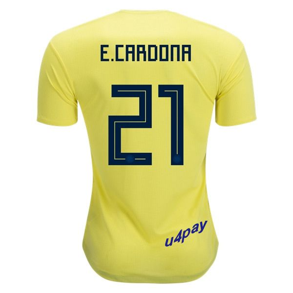 edwin cardona 21 2018 fifa world cup colombia home soccer jersey