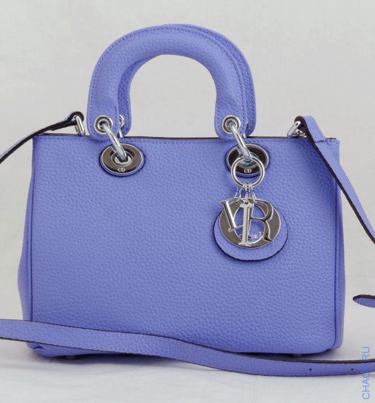 Сумка Dior Diorissimo mini темно-голубого цвета с салатовой подкладкой