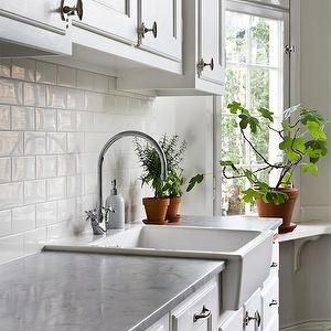 ... sink, apron sink, white subway tiles, white subway tile backsplash