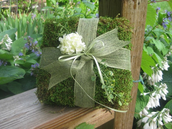 Natural Moss Ring Bearer Pillow