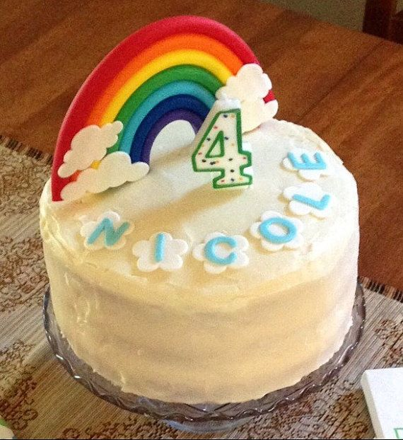 rainbow cake topper Edible Rainbow fondant by SweetNewCreations