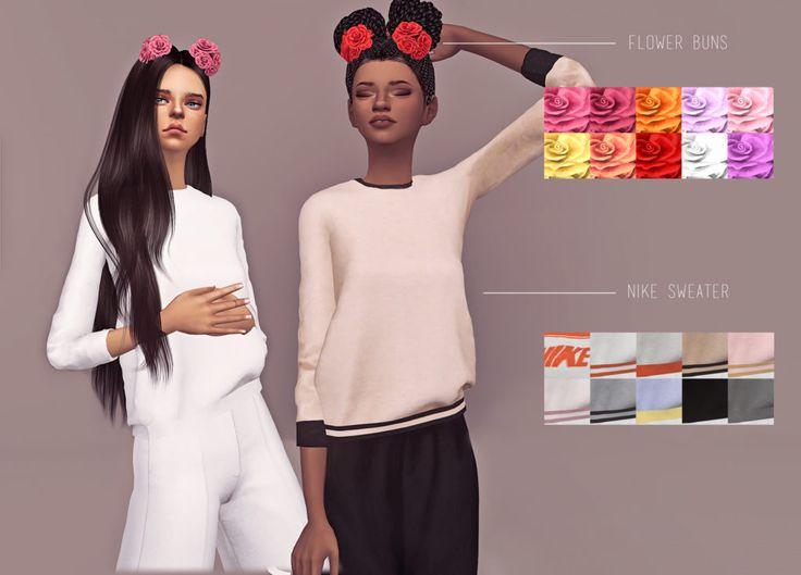 Die Sims 4 Nike Pullover und Blumen Brtchen  Sims 4 CCs Kleidung  Sims 4 Die sims und Sims