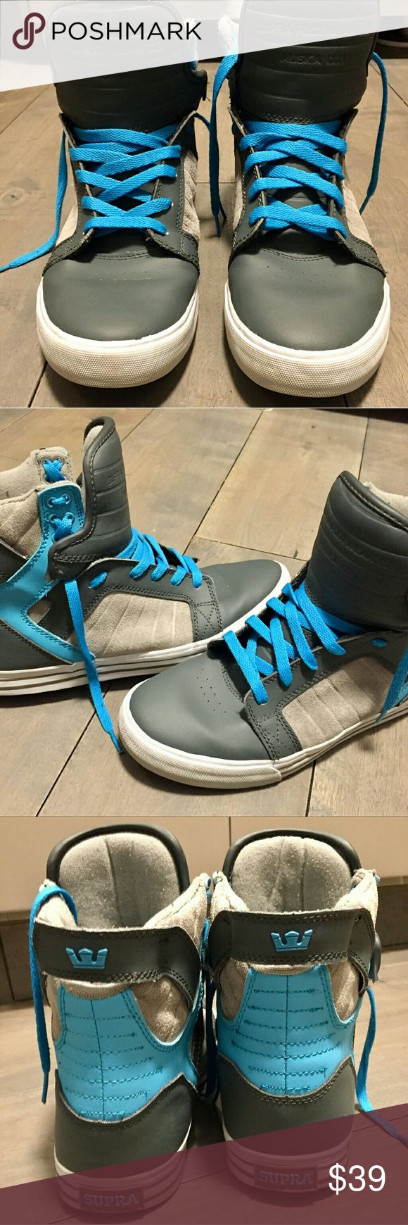 SUPRA MUSKA 001 SKYTOP MEN'S SNEAKERS SUPRA Muska 001 Skytop Men's sneakers size 10. Dark grey/Light grey suede/blue. Preowned. No box. Outside of shoe great condition. Inside of shoe light fabric pilling. Minuscule rocks stuck in gridded sole. Supra Shoes