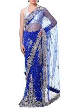 Royal Blue Net Lehenga Saree