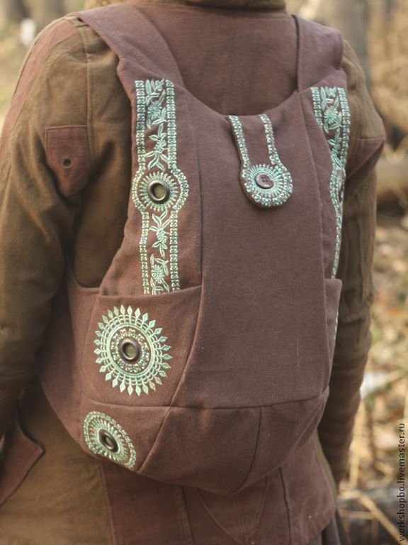 """Купить Хлопковый рюкзак """"Ethnic"""" с орнаментальной вышивкой. - коричневый, орнамент, рюкзак, вышивка, натуральный хлопок"""