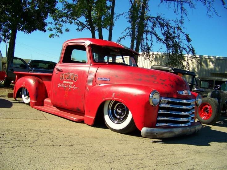 """Tucks Garage""  Fire engine Red, Chev Pick-up"