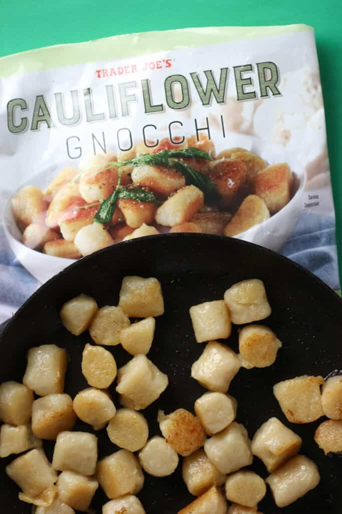 The Pros Trader Joe S Cauliflower Gnocchi Is Quite Possibly The Best Cauliflower Substitute Product To Trader Joes Recipes Trader Joes Gnocchi