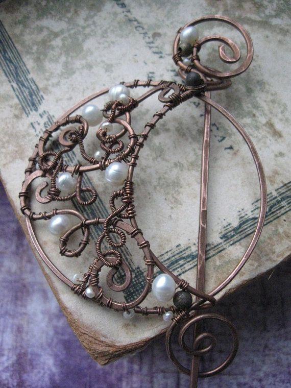 Wire Wrapped Lunar Shawl Pin - Scarf Pin Hat Pin - Copper Brooch - Crescent Moon - Filigree Ornate Whimsical Romantic - Fibula
