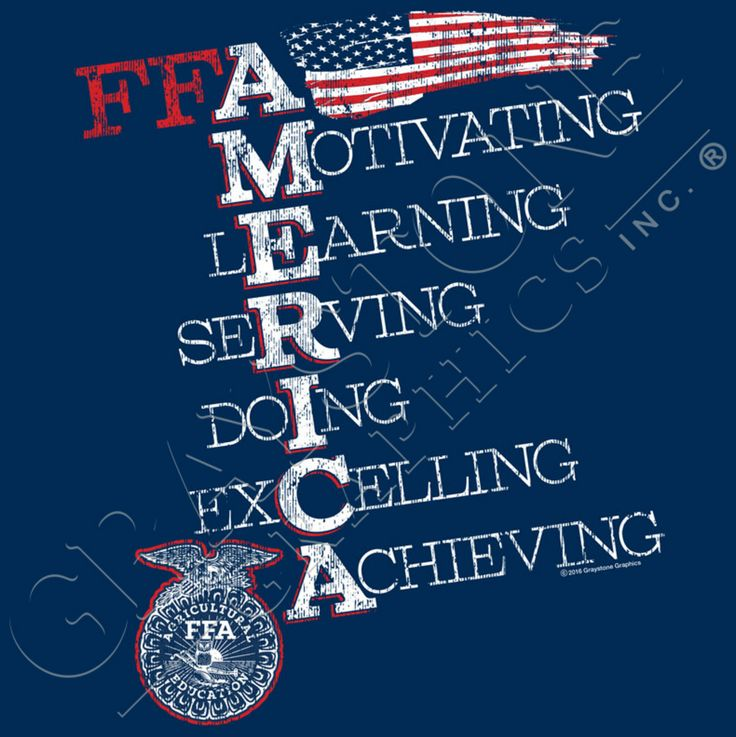 FFA America Acrostic. Motivating. Learning. Serving. Doing. Excelling. Achieving. That's you in FFA! Get this shirt for your FFA Chapter exclusively from Graystone Graphics! New for Fall!