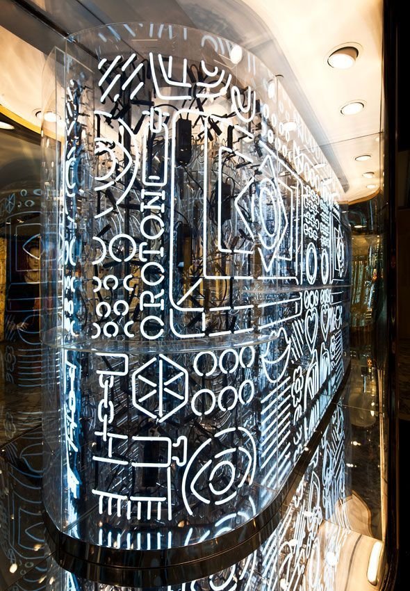 Neon installation for Oroton, a luxury accessories house by artists Craig Redman and Karl Maier. The neon contains iconography derived from Oroton products, interspersed with patterns and whimsical symbols