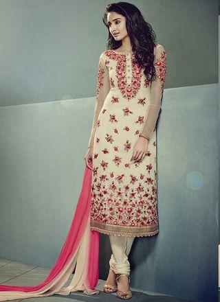 Party Wear Cream Embroidery Thread Resham Work Georgette Designer Salwar Kameez