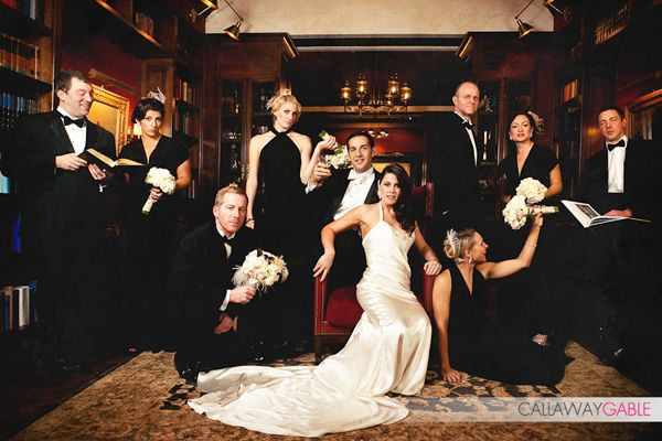 "Old Hollywood Glam Wedding - client wedding party ""Vanity Fair"" shot. Love the vanity shoot, but take it out doors on my location of choice(minus the added accessories aside from bouquets)."