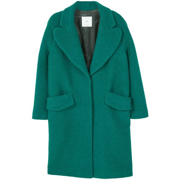 MANGO Textured Wool-Blend Coat (£98) ❤ liked on Polyvore featuring outerwear, coats, long sleeve coat, mango coat, wool blend coat, blue coat and textured coat