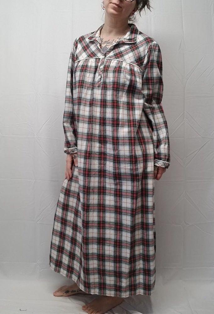 cb9c3a00c2a4 LL BEAN Plaid Flannel Granny Nightgown 100% Cotton White Stewart Tartan  Women XL  LLBean  Gowns