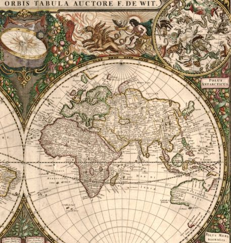 Antique typographic world map of Earth by Frederick de Wit