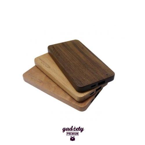 Ekologiczny power bank Naturalne drewno Przenośny akumulatorek do ładowania tabletów, telefonów oraz MP3/4, o pojemności 4000 mAh.