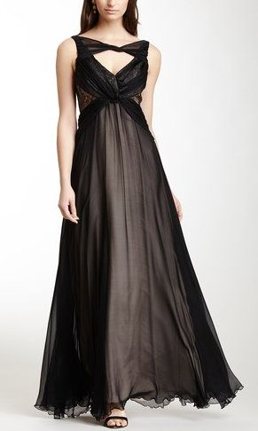 Twisted Neck Drape Silk Gown