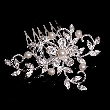 Alloy Hair Combs With Imitation Pearl/Rhinestone Wedding/Party Headpiece - CAD $ 7.91