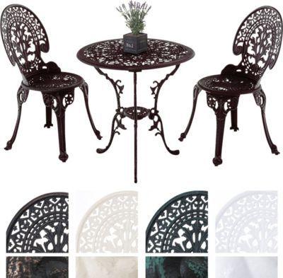 Garten Sitzgruppe VISHNU, Guss Eisen, Design Nostalgisch Antik, Tisch Rund  Ø 65