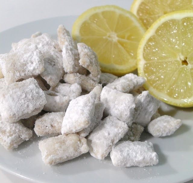 Lemon Puppy Chow-turned out to be a good little snack for a summer baby shower