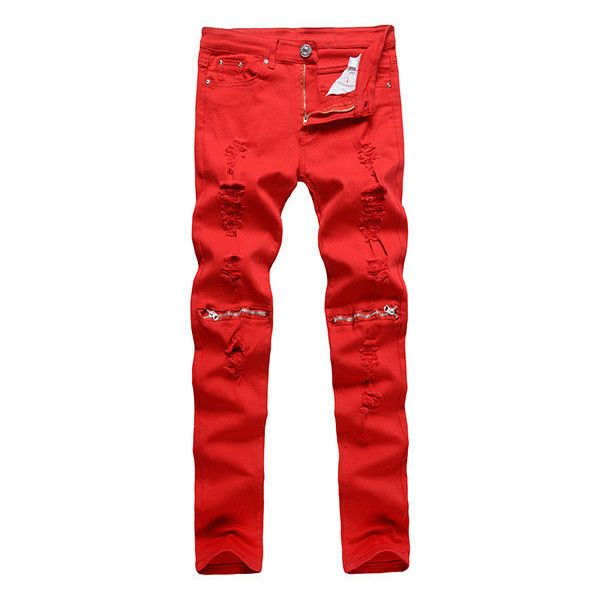 Vintage Style Fashionable Break Holes Knees Zippers Elastic Jeans For... ($23) ❤ liked on Polyvore featuring men's fashion, men's clothing, men's jeans, men jeans, red, mens slim jeans, mens zipper jeans, mens slim fit jeans, mens jeans and mens red jeans