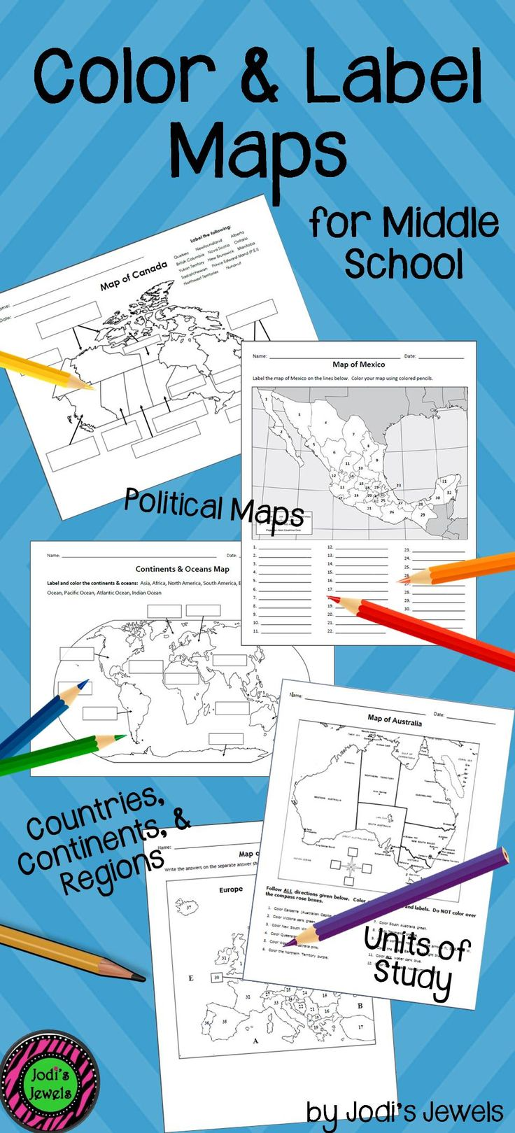 Visit Jodi's Jewels today for color and label maps of countries, continents, and regions! Enrich your middle school social studies units today! (MODIFIED maps are also available,)