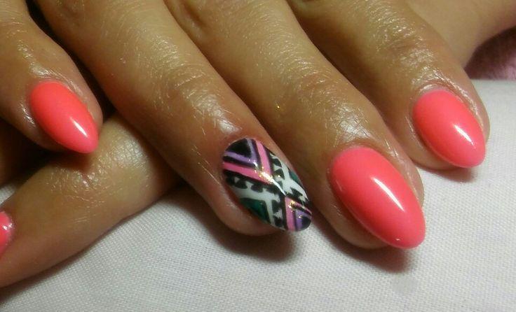 Tutti frutti nails like pink and red in one ;) #semilac #nails #tutti frutti