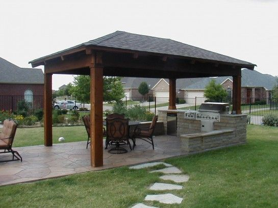 Gorgeous House Plan with Outdoor Kitchen with Gazebo Outdoor Kitchen Plans also Pyramid Hip Roof Gazebo