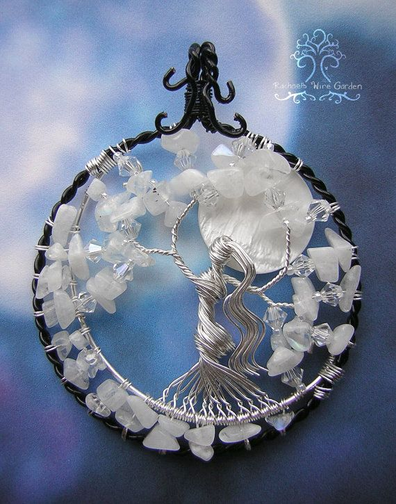 Moon Goddess Tree of Life Wire Wrapped Pendant Jewelry Rainbow Moonstone Swarovski Crystals