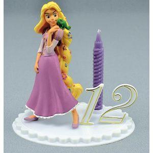 Bougie anniversaire Raiponce 12 cm avec chiffres, rare et originale pour une petite fille, la figurine Raiponce se conserve