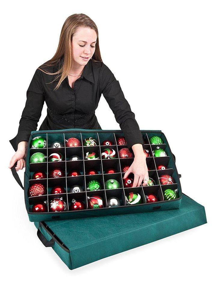 Ornament Storage Box Fits 40 Christmas Balls Large Tray Seasonal Holiday Chest #SantasBags