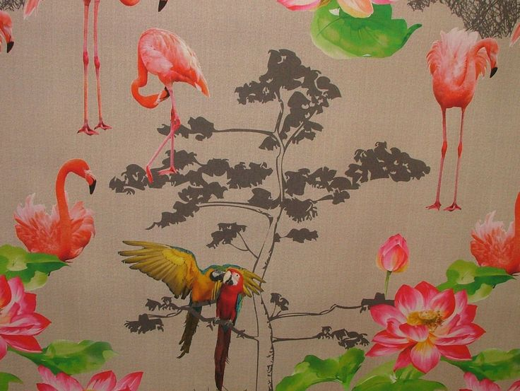 1 Metre Paradise Flamingo Parrot Bird Linen Look Photo Digital Printed Full  Colour Designer Cotton Curtain Upholstery Fabric
