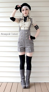 Oh me goodness.    Love what shes wearing, might do the makeup a bit different though.  #steampunk #boots #overalls #armbands