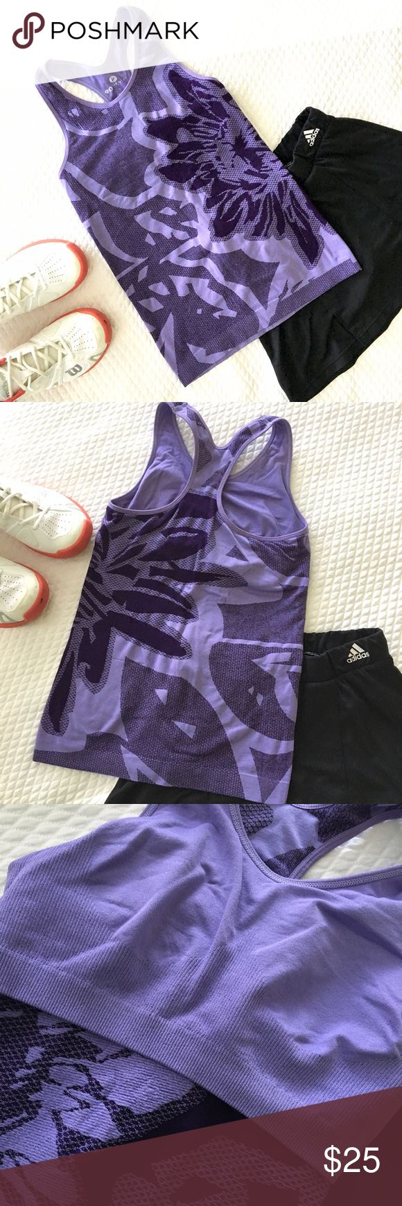Sports top with Built-in Bra from 90 Degrees Gorgeous, stretchy purple sports top with a built in bra (photo shows top turned inside out so you can see the bra).  Entire top made of elastic material so bra won't eat into your skin!  Worn once (and laundered) so great condition. Size Small. 90 Degrees Tops